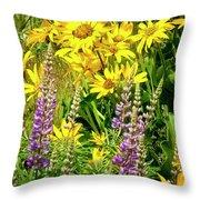 Columbia Gorge Wildflowers Throw Pillow