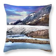 Columbia Ice Field And Athabaska Glacier Throw Pillow