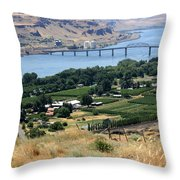 Columbia River And Biggs Bridge Throw Pillow