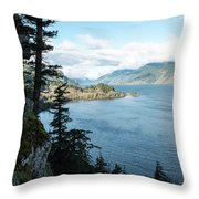 Columbia River Cliffside Throw Pillow