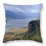 Columbia River Gorge Oregon State Panorama. Throw Pillow
