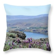 Columbia River Scenic Blooms #1 Throw Pillow