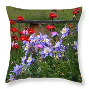 Columbines And Daisies Throw Pillow