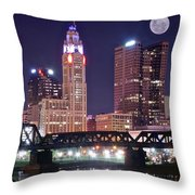 Columbus By Moonlight Throw Pillow