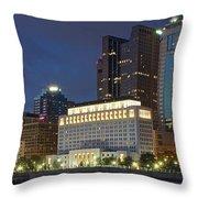Columbus Night Panorama Throw Pillow