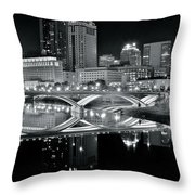 Columbus Ohio Black And White Throw Pillow