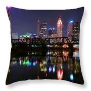 Columbus Ohio Reflecting In The Scioto River Throw Pillow