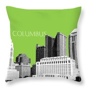 Columbus Ohio Skyline - Olive Throw Pillow