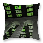 Column Stain Green Throw Pillow