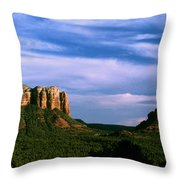Colurt House Butte And Bell Rock Throw Pillow