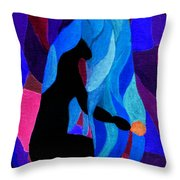 Combing The Waves Dark Throw Pillow