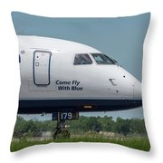 Come Fly With Blue Throw Pillow