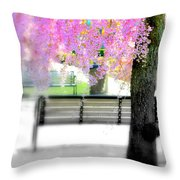 Come Sit By The Cherry Blossoms Throw Pillow