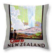 Come To New Zealand Vintage Travel Poster Throw Pillow