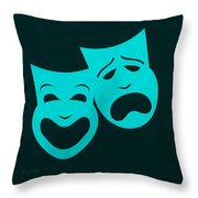 Comedy N Tragedy Aquamarine Throw Pillow