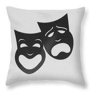 Comedy N Tragedy B W Throw Pillow