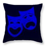 Comedy N Tragedy Black Blue Throw Pillow
