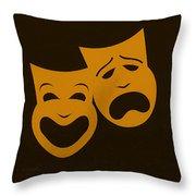 Comedy N Tragedy Black Orange Throw Pillow
