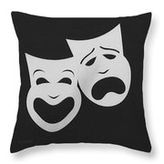 Comedy N Tragedy Black White Throw Pillow