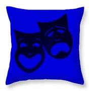 Comedy N Tragedy Blue Throw Pillow