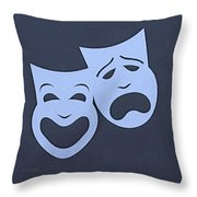Comedy N Tragedy Cyan Throw Pillow