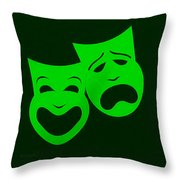 Comedy N Tragedy Green Throw Pillow