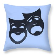 Comedy N Tragedy Neg Cyan Throw Pillow