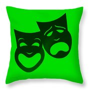 Comedy N Tragedy Neg Green Throw Pillow