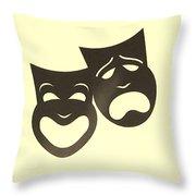 Comedy N Tragedy Neg Sepia Throw Pillow