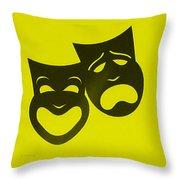 Comedy N Tragedy Neg Yellow Throw Pillow