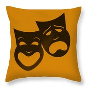 Comedy N Tragedy Orange Throw Pillow