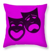 Comedy N Tragedy Purple Throw Pillow