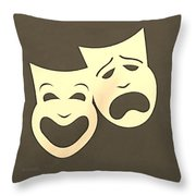 Comedy N Tragedy Sepia Throw Pillow