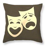 Comedy N Tragedy Sepia Throw Pillow
