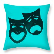 Comedy N Tragedy Turquoise Throw Pillow