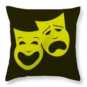 Comedy N Tragedy Yellow Throw Pillow
