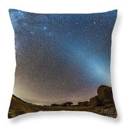 Comet Lovejoy And Zodiacal Light Throw Pillow