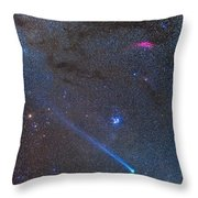 Comet Lovejoys Long Ion Tail In Taurus Throw Pillow
