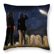 Comet Over The City Throw Pillow