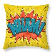 Comic Wham Throw Pillow