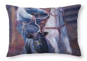 Comin At Ya      Calf Roping Painting Throw Pillow