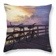 Coming And Going By Marilyn Nolan- Johnson Throw Pillow