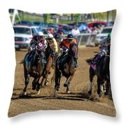Coming Around The Turn Throw Pillow