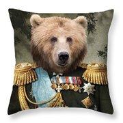 Commander Bear Throw Pillow