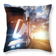 Commercial Cargo Delivery Truck With Trailer Driving On Highway At Sunset. Throw Pillow