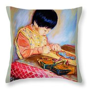 Commission Portraits Your Child Throw Pillow