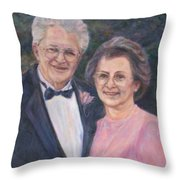 Commissioned Portrait Painting Throw Pillow