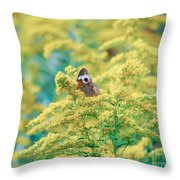 Common Buckeye Butterfly Hides In The Goldenrod Throw Pillow