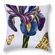 Common Iris With Butterflies Throw Pillow