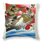 Common Loon Eating Noodles Throw Pillow